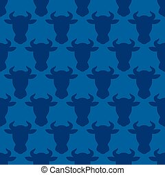 Cow head silhouette seamless pattern for design