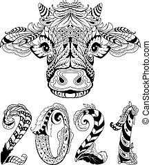 Cow head symbol 2021 new year text lettering greeting card. Tribal tattoo black white drawing abstract pattern