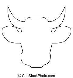 Cow head   the black color icon .