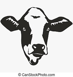 Cow head vector - Cow head on white background, butcher Farm...