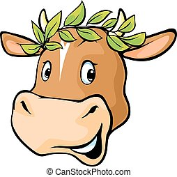 Cow head with a laurel wreath