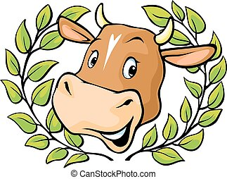 Cow head with in a  laurel wreath - vector