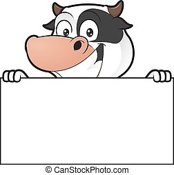 Cow holding blank sign