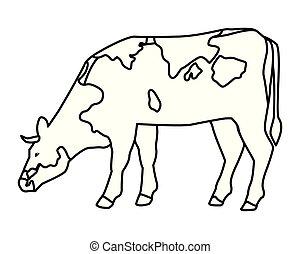 cow icon cartoon black and white
