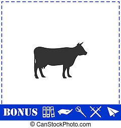 Cow icon flat