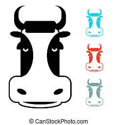 Cow icon flat style. Head farm animal stencil. Cute beef