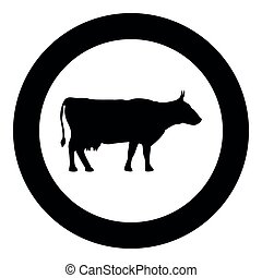 Cow icon in round black color vector illustration set