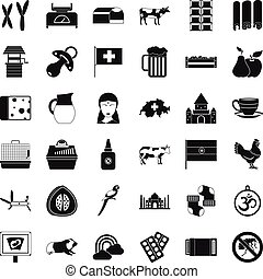 Cow icons set, simple style