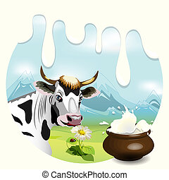 Cow - Illustration, cow on glade with daisywheel on...