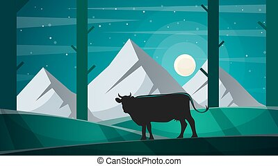 Cow in the forest - cartoon lanscape illustration.