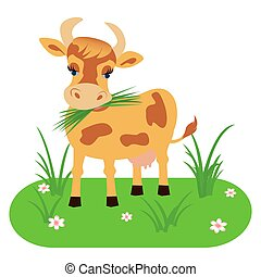 Cow isolated on a white background. Vector illustration in cartoon style.