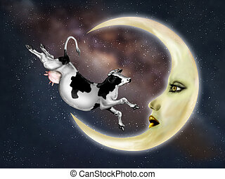 Cow Jumped Over The Moon - Illustration of a dairy cow...