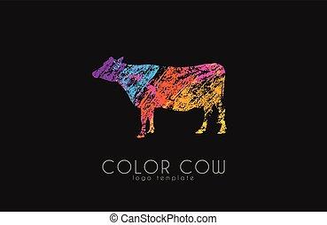 cow., ko färga, skapande, logo., design.