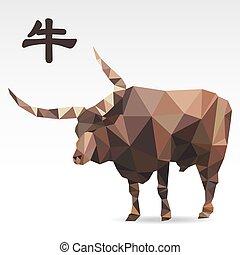 Cow low polygon art