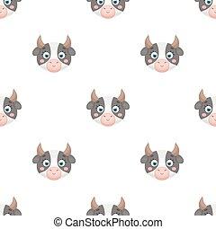 Cow muzzle icon in cartoon style isolated on white background. Animal muzzle symbol stock vector illustration.