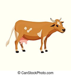 Cow of animal vector icon. Cartoon vector icon isolated on ...