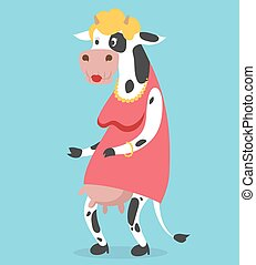 Cow old woman vector portrait illustration on background....