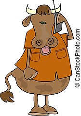 Cow on a cell phone - This illustration depicts a cow...