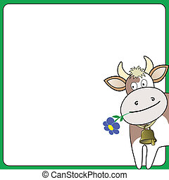 cow on a white square - cow with a flower looks out over the...