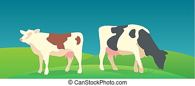 Cow on green background. Vector flat illustration