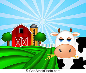 Cow on Green Pasture with Red Barn with Grain Silo - Cow on...