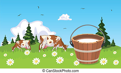 Cow on meadow bucket of milk in the foreground