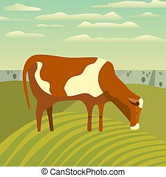 Cow on meadow poster