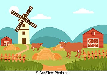 Cow on the background of summer rural landscape, farm and windmill vector Illustration in flat style