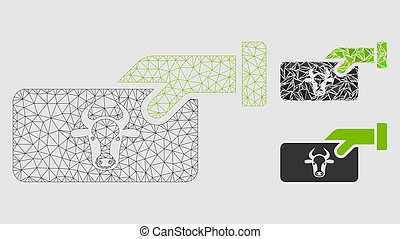 Cow Payment Vector Mesh Wire Frame Model and Triangle Mosaic Icon