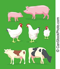 Cow, pig and chicken on green background. Vector flat illustration