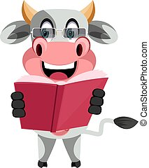 Cow reading book, illustration, vector on white background.