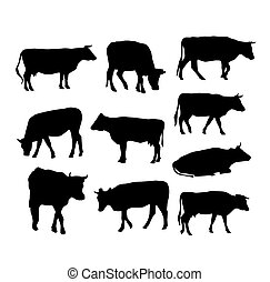 cow set black silhouette on white background. vector