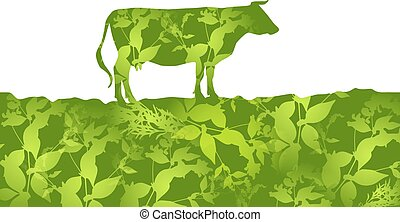 Cow silhouette  graze in the field, landscape, grass, pasture. green  background.  Vector