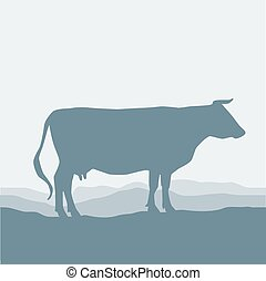 Cow silhouette  graze in the field, landscape, sky, grass, pasture. Blue, gray background.  Vector