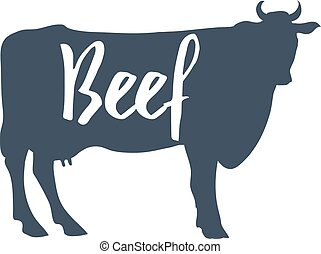 """Cow Silhouette with """"Beef"""" text. Vector"""