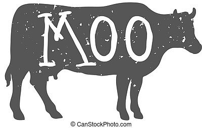 Cow Silhouette with Moo Text. Vector illustration