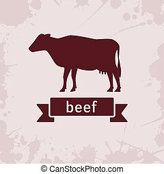 cow silhouette with ribbon