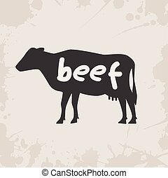 cow silhouette with text