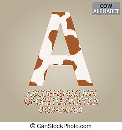 Cow Skin Alphabet and Numbers Vector