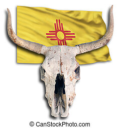 Cow Skull and New Mexico Flag.