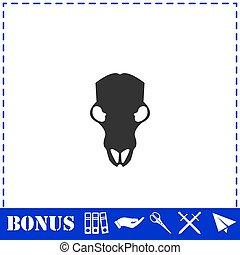 Cow skull icon flat