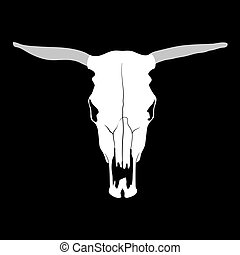 Cow skull - Vector cow skull on black background...
