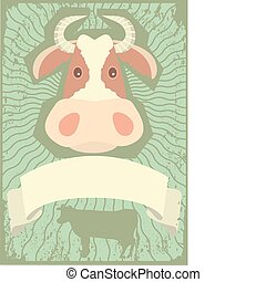 Cow symbol.vector grunge image for text.