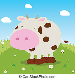 cow - cartoon cow on field bacground, vector illustration