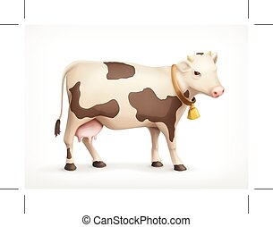 Cow vector icon - Cow, vector icon, isolated on white...