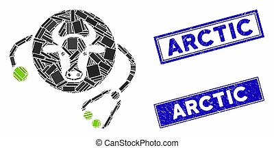 Cow Veterinary Mosaic and Scratched Rectangle Arctic Stamp Seals