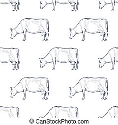 Cow vintage engraved illustration seamless pattern background. Vector
