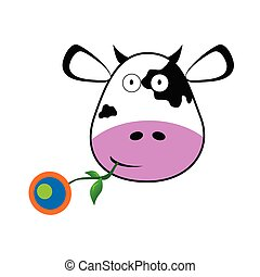 cow with a flower in her mouth vector illustration