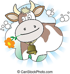 cow with an orange flower in radiant white and blue...