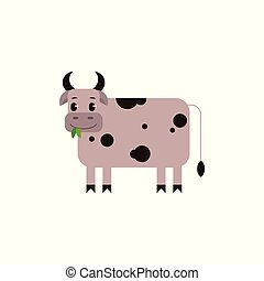 Cow with black spots chewing green leaves in flat style...